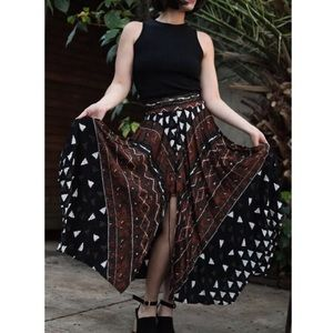 Dresses & Skirts - VTG tribal printed lace up maxi skirt size Small